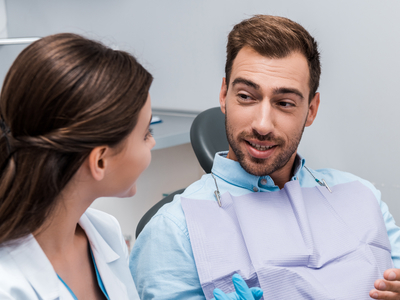 bearded man with insurance at Jarrell Dentistry